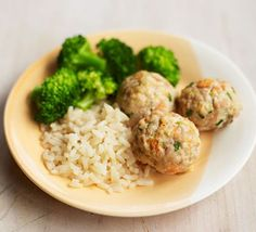 Weaning recipe: If your toddler enjoys feeding him or herself then try these moreish chicken meatballs, made with fresh veggies and chicken thighs. Serve with rice and broccoli for a satisfying dinner Chicken Meatball Recipes, Chicken Meatballs, Easy Chicken Recipes, Recipe Chicken, Bbc Good Food Recipes, Baby Food Recipes, Recipes Dinner, Healthy Snacks, Healthy Recipes