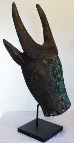 African Bull Wooden Tribal Mask Mali | eBay