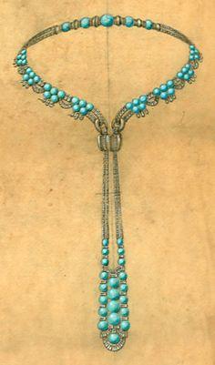 Rubel - Sautoir Turquoises - Croquis