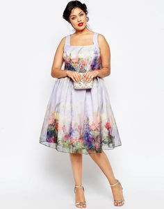 Image 4 of ASOS CURVE SALON Skater Dress with Organza in Border Floral