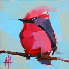 #AngelaMoulton | #Vermillion Flycatcher. #bird #painting