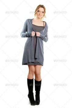 woman in a dress ...  adult, attractive, beautiful, beauty, black, blonde, boots, calm, cape, casual, caucasian, charming, closeup, clothes, cocktail, cute, dress, elegance, elegant, fashion, fashionable, female, feminine, girl, gray, grey, heels, human, isolated, lady, lovely, makeup, model, modern, nice, one, people, person, portrait, posing, pretty, slim, studio, style, stylish, trendy, vogue, white, woman, young