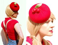 Cocktail hat Cherry Bomb red felt rockabilly by AkaTomboMillinery