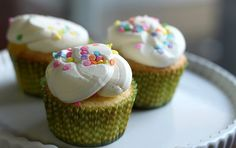 Fluffy Yellow Cupcakes made from scratch with beaten egg whites
