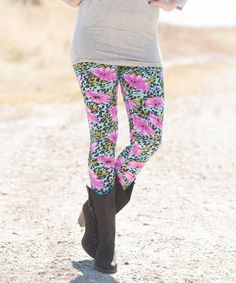 Another great find on #zulily! Purple Floral Leopard Leggings #zulilyfinds