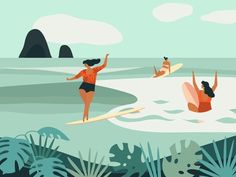 Surf poster with girls riders on longboards. Vector illustration.