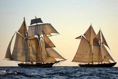 The Schooner Virginia sailing with the Pride of Baltimore II from Charleston to Richmond, May 2007.