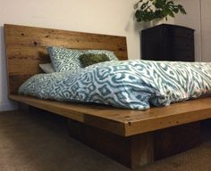 Bed made from recycled timber.