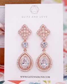Rose Gold Vintage Style Earrings and Bracelet Set, wedding bridal jewelry, brides, bridesmaid, mother of bride or groom, www.glitzandlove.com