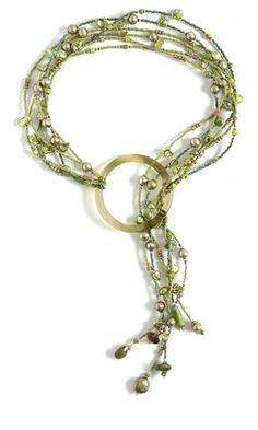 Multi-Strand Necklace with Seed Beads, Cultured Freshwater Pearls and Glass Ring - Fire Mountain Gems and Beads