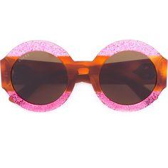 Gucci Eyewear Glitter Tortoiseshell Round Sunglasses (635 830 LBP) ❤ liked on Polyvore featuring accessories, eyewear, sunglasses, round frame sunglasses, round tortoise sunglasses, tortoise shell glasses, pink lens sunglasses and round sunglasses
