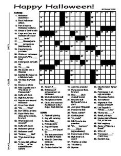 Halloween Crossword Puzzle 15 X