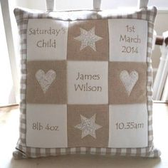 Personalised Natural Memory Cushion** by Tuppenny House Designs, the perfect gift for Explore more unique gifts in our curated marketplace. Memory Pillows, Baby Pillows, Memory Quilts, Baby Memory Quilt, Burlap Pillows, Personalised Cushions, Personalised Gifts, Patchwork Cushion, Sewing Pillows