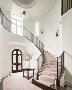 View the portfolio of interior designer Denise McGaha Interiors in Dallas, TX Grand Stairway, Grand Foyer, Iron Staircase, Floating Staircase, House Staircase, Staircase Design, Navy Blue Walls, White Walls, Barrel Vault Ceiling