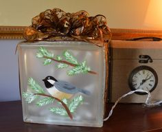 Painted Glass Block by BohemianBluejay on Etsy