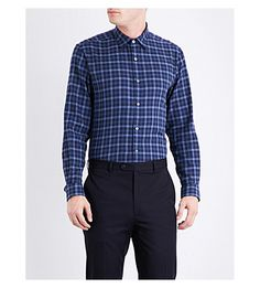 GIEVES & HAWKES Checked regular-fit cotton shirt. #gieveshawkes #cloth #
