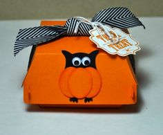 Halloween Owl box using Stampin' Up!s new Hamburger die for the Big Shot