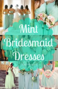 Many Different Styles of Mint Green Colored Bridesmaid Dresses Popular Color f Mint Green Bridesmaids, Mint Green Bridesmaid Dresses, Country Bridesmaid Dresses, Designer Bridesmaid Dresses, Wedding Bridesmaids, Wedding Goals, Dream Wedding, Wedding Summer, Wedding Ideas