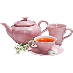 Pink Sophie Conran Tea Set ($34) ❤ liked on Polyvore featuring home, kitchen & dining, teapots, tea, fillers, food, drinks, decor, backgrounds and tea set