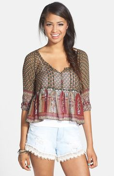 Band of Gypsies Babydoll Peasant Top (Juniors) available at #Nordstrom