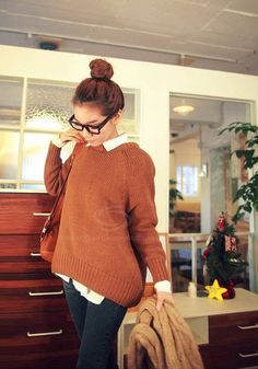 Loose-Fitting Round Neck Long Sleeve Knitwear Sweater