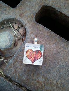 Scrabble Glass Tile Pendant  Vintage Heart by kraftychix on Etsy, $3.00