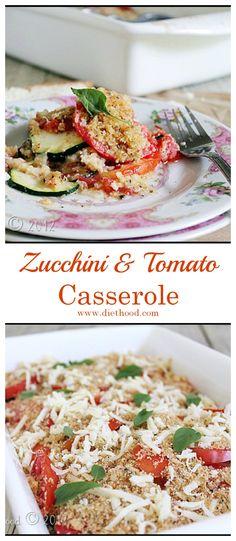 Zucchini and Tomatoes Casserole   www.diethood.com   #vegetarian #casserole #zucchini