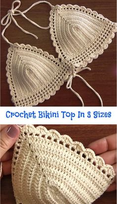 Crochet Bikini Top In 3 Sizes Crochet Bikini Top In 3 Sizes When summer season hits, you want your beach or pool style to stand out. Today we have researched amazing video tutorial about how to crochet fashionable bikini top, w… Motif Bikini Crochet, Débardeurs Au Crochet, Bikinis Crochet, Crochet Amigurumi, Crochet Crop Top, Free Crochet, Crochet Style, Hand Crochet, Gypsy Crochet