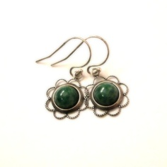 Apple Green Earrings Glass Bead Earrings Spring by pink80sgirl, $18.00