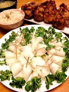 ある物で、使い切りたい - 121件のもぐもぐ - 塩だれ唐揚げ・かぶの酢漬カイワレ巻き・枝豆ご飯・スープ by chiecha
