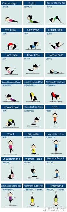 24个瑜伽姿势名称的中英对照