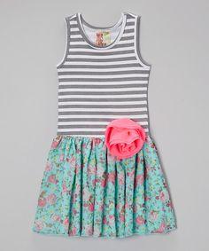 Look what I found on #zulily! Gray & Green Stripe Floral Dress - Toddler & Girls #zulilyfinds