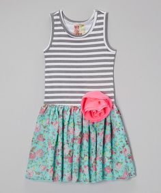 Look what I found on #zulily! Gray & Green Stripe Floral Dress - Toddler & Girls #zulilyfinds