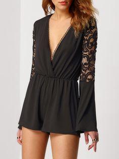 Shop Black Deep V Neck Lace Jumpsuit online.  15.79