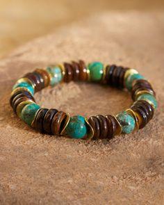 The Jordan yak bone turquoise gold vermeil discs bracelet