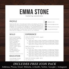resume template professional creative and modern design with free cover letter word template for mac or pc the emma - Resume Word Template Free