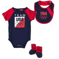 2012 Olympics 5 Rings Bib and Bootie Set - This 3 piece 2012 Olympics 5 Rings Bib and Bootie Set features a Team USA Creeper, a pair of booties, and a reversible bib. Cute, cute, cute!