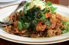 EAT AT: Lotus of Siam. This is drunken noodle soft shell crab. Wow!