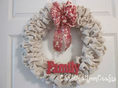 Burlap Wreath - Family Wreath - Fall Wreath. $44.95, via Etsy.