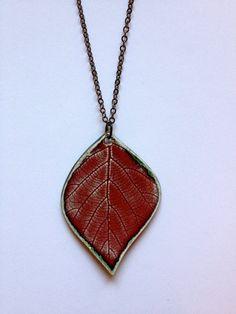 Large Red Ceramic Leaf Pendant by AlainaSheenDesigns on Etsy, $22.00