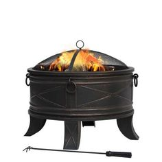 Hampton Bay Quadripod 26 in. Round Fire Pit-FT-51161 at The Home Depot.  For cold nights in NC.