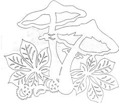 Mushrooms and greenery paper cutting pattern Colouring Pics, Coloring Sheets, Coloring Pages, Origami, Mushroom Crafts, Chinese Paper Cutting, Paper Cutting Patterns, Diy And Crafts, Paper Crafts