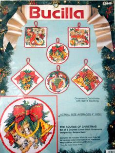 New The Sounds of Christmas Cross Stitch Christmas Ornaments Set of 6
