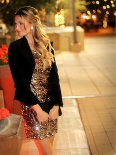 sparkly dress + long flowy hair + black jacket + big earnings = new years outfit