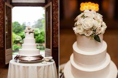 Philadelphia Wedding Photographer Weldon Weddings: cairnwood wedding. simple white tiered wedding cake with flowers on top.