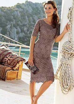 Ажурное платье из мотивов крючком. |