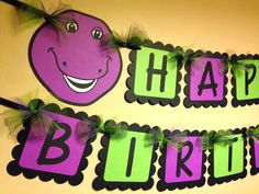 Barney the Dinosaur Happy Birthday Banner by PaperPiecingDreams on Etsy
