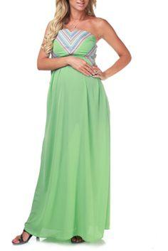 Green Tribal Accent Maternity Maxi Dress #pintowin @PinkBlush Maternity