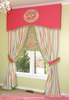 Monogrammed valance on a relaxed balloon shade. A Shade Better ...
