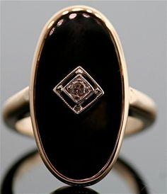 Vintage Black Onyx and Diamond Ring.